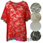 Womens Floral Lace Oversized Top Ladies See Through Baggy Short Sleeve Top