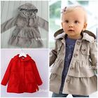 New kids  Girl Outerwear ruffle hooded Coat clothes size1.2.3.4.yrs