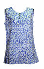 Ladies White/Blue animal print sleeveless top