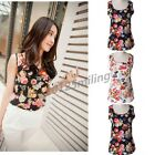 Women's Summer Casual Chiffon Printing Vest Tank Sleeveless T-Shirt Tops Blouse