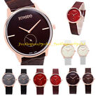 New Fashion Lover Stainless Steel Dial Leather Band Quartz Couple Wrist Watch