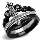 Black Stainless Steel Princess Crown CZ Wedding Engagement 2 PC Ring Band Set
