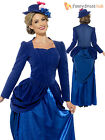 Ladies Deluxe Mary Poppins Fancy Dress Costume Adult Edwardian Nanny Outfit