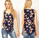 Fashion Women's Butterfly SlimTank Tops Vest Chiffon Blouse Sleeveless T-Shirt