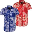 Mens Soulstar Palm Tree Beach Print Slim Summer Hawaiian Short Sleeve Shirt Size