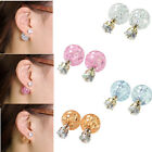 Pair Celebrity Runway Double Sided Womens Crystal Rhinestone Earrings Studs Gift