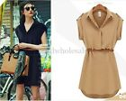 Women's Lapel Cap Sleeve Stretch Chiffon Casual OL Shirt Mini Dress With Belt