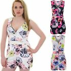 Womens V Neck Zip Front Textured Sleeveless Pleated Floral Romper Playsuit