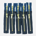 5 x No5 Brass Teeth Closed End Auto Lock Jean Zips - Choice of Colour & Length