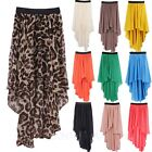 Chiffon Mullet Asymmetrical Long Skirts Elastic Waistband Short-Long Skirt 8 10