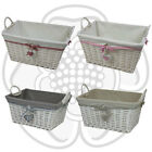 JVL Hearts White Willow Wicker Rectangular Linen Washing Laundry Basket Handles