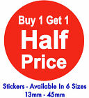 Buy 1 Get 1 Half Price Bright Red Promotional Sale Stickers Sticky Labels Tags