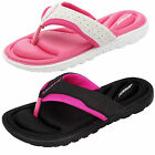 Womens Flip Flops Dunlop New Ladies Memory Foam Toe Post Slip On Beach Sandals