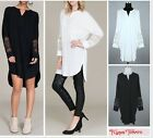 Women V-neck cotton Long Sleeve Top Loose Blouse T-shirt long dress plus size