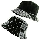 Unisex Paisley Bandana Bucket Boonie Bush Fisherman Hat Black-White S/M - L/XL