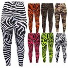 Girls Leopard Animal Neon Bright Florescent Zebra Print Punk Stretch Leggings