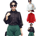 Elegant Fashion Women's Casual Artificial Pearls Puff Sleeve Shirt Tops Blouse