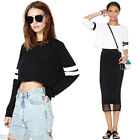 Fasion Womens Long Sleeve Crew Neck Loose Casual Top Blouse Sweatshirt Pullover