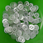 50 white shirt buttons 4 holes  9mm 10mm 12mm & 14mm