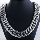 HEAVY 18mm Silver Tone Curb Link Rombo Mens Chain 316L Stainless Steel Necklace