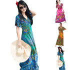 Women's Summer Boho Maxi Evening Party Dress V-neck Batwing Sleeve Beach Dresses
