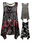 Womens Plus Size Slouch Fit Vest Top Printed Black Pink T-shirt Ladies New UK 20
