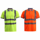 MENS HI VIZ VIS TWO 2 TONE POLO COLLAR T-SHIRT PRO WORK SAFETY HIGH VIS SECURITY