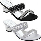 Womens Elegant Slip On Low Heel Diamante Jewelled Strap Fashion Sandals