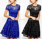 Floral Lace Short Sleeve DRESS Women Cocktail Evening Party Casual Mini Dress HQ