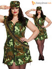 Ladies Sexy Army Girl Military Soldier Plus Size Uniform Costume Fancy Dress