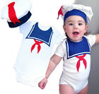 Baby Toddler Infant Navy Sailor Romper Costume Cosplay Outfit Dresses One-piece