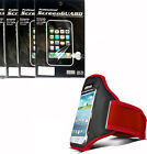 RED Sport Armband Case Cover + 3x Screen Protector Film FOR Samsung Phones 2015
