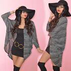 Draped Gray Heather Cape Cocoon Casual Kimono Knit Jacket