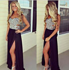 Sexy Beaded Long Cocktail Bridesmaid Gown Padded Floral Splice High Split Dress