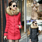 New Women Winter Warm Fur Collar Hooded Parka Overcoat Long Jacket Trench Coat