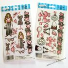 Ladies Fashion in Black & Pink: E-Z Rub-On Transfers Sheet (Decals) ~ New