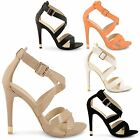 NEW LADIES WOMENS STRAPPY HIGH HEELS STILETTO PARTY PROM SANDALS SHOES SIZE UK