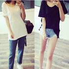 Summer Women Casual Simple Large Pockets Solid Loose LongTop Tee Blouse T-shirts