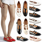 Womens Ladies Girls Flat Geek T Bar Cut Out Office School Work Pumps Shoes Size