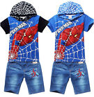 Kids Boys Girls Spider-Man Superhero Hoodies Top T-Shirt+Short Jeans Sets 3-8Yrs