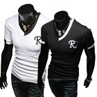 Mens Short Sleeve T-shirt N-neck English Letter R Printed Fitted Stretchy Tops