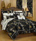 New Realtree AP Black White Snow Hunting Reversible Camo Bedding Comforter Set