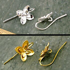 4 Sterling Silver Plated Solid Brass Flower Earhook Earring Hooks Earwire m122