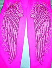 PLUS SIZE LEGGINGS EMBELLISHED RHINESTONE FANCY BLACK & CRYSTAL ANGEL WINGS