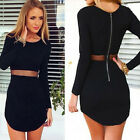 Women Lady Bodycon Long sleeve Slim Cocktail Party Short Mini Black Dress Reliab