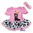 Baby Boots Light Pink Cowgirl Bodysuit Tutu Headband Halloween Costume Dress