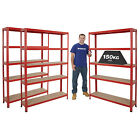 3 Bay Shelving Units Garage Storage RED Heavy Duty 5 Tier Shelf Steel Racking