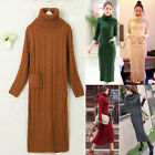 Women's Slim Fit Turtleneck High Collar Knitting Sweater Dress Cardigans Jumpers