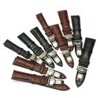 Genuine Leather Stainless Steel Butterfly Clasp Buckle Watch Band Strap 16-24mm