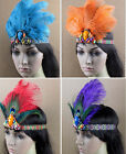 Indian Ostrich Feather Headband Headdress Carnival Party Masquerade Crown Hat
